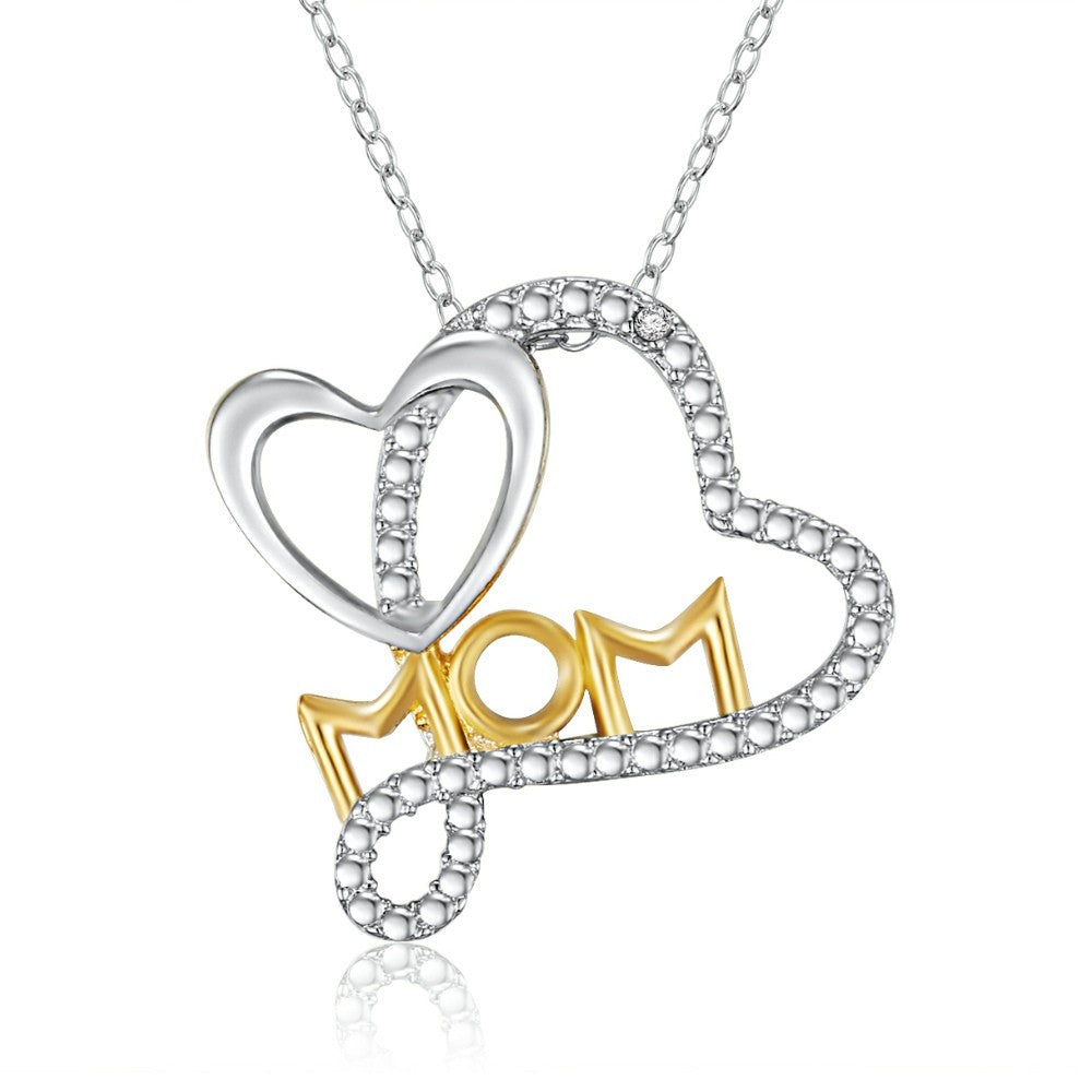 "{Sterling Silver Rhodium & 14K Gold Plated Diamond Accent ""Mom"" Heart Necklace}"