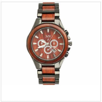 {Hawaii - Beautiful Mens Natural Rose Wood & Iron Plated Black Steel Watch}