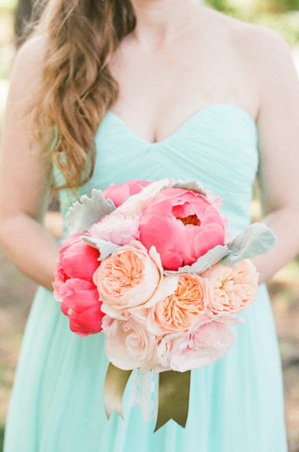 Coral and seafoam wedding