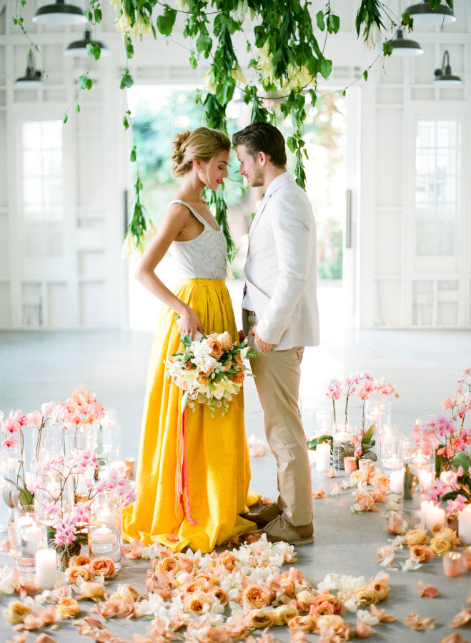 yellow and blush wedding summer colors
