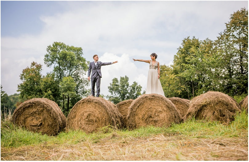 hay rustic wedding couple