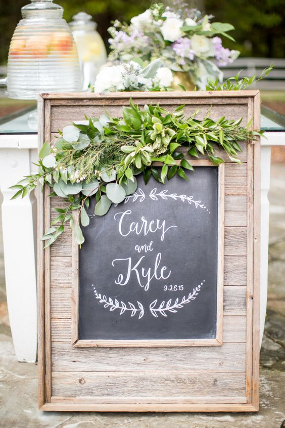 rustic wedding chalk board