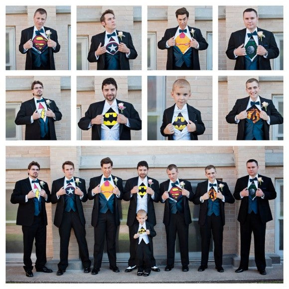 comic theme wedding groomsmen