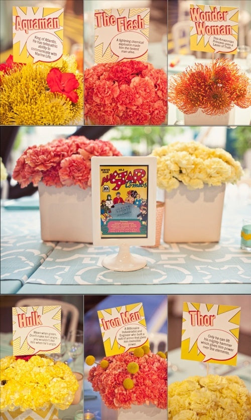hipster comic theme wedding party decor