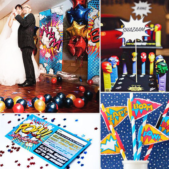 comic theme wedding decor