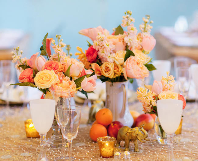 peach and marigold summer wedding colors