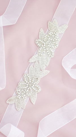 Beaded Leaf Sash - pasteldress