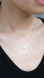 Double Pendant Necklace in Silver - pasteldress