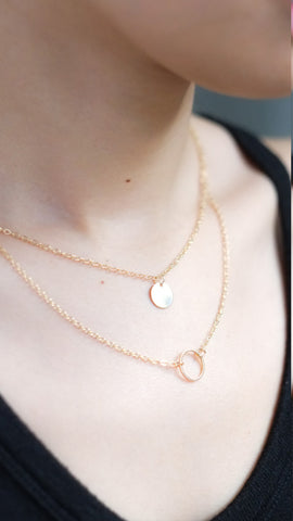 Double Pendant Necklace in Gold - pasteldress