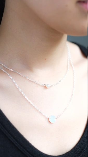 Double Pendant Pearl Necklace - PastelDressParty