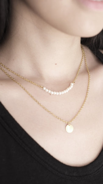 Double Pendant Pearl Bar Necklace in Gold