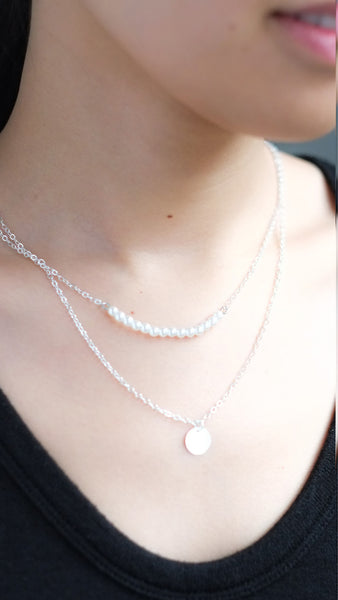 Double Pendant Pearl Bar Necklace in Silver