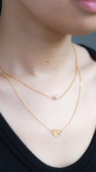 Double Pendant Pearl Necklace in Gold - pasteldress