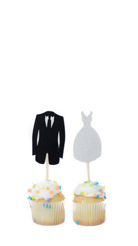 Bride and Groom Cake Topper- Pack of 5 Pairs - pasteldress