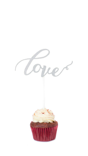 'Love' Cake Topper - Pack of 5 - pasteldress