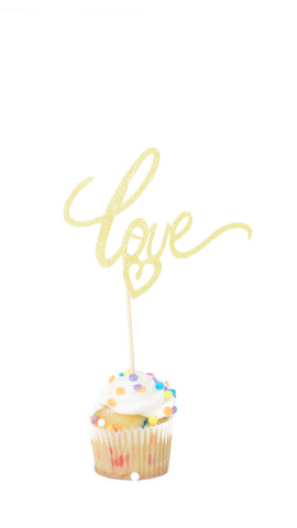 Love with Heart Mini Cake Topper - Pack of 5 - pasteldress