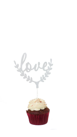 'Love' Leaf Cake Topper - Pack of 5 - pasteldress