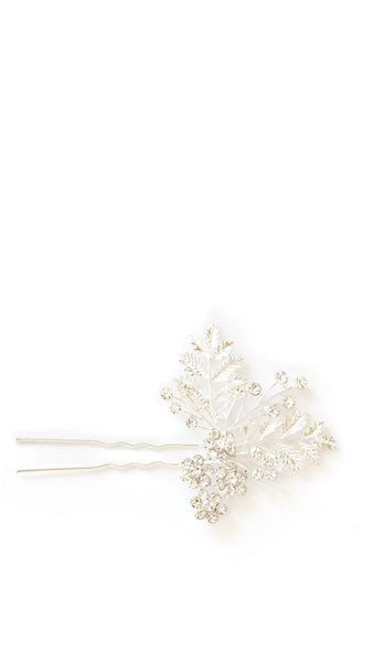 Silver Crystal Leaf Hairpin - pasteldress