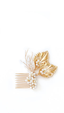 Gold Leaf Beaded Hair Comb - pasteldress