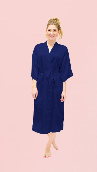 Satin Kimono Robe - Plain Long - pasteldress