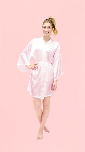 Satin Kimono Robe - Plain Short - pasteldress