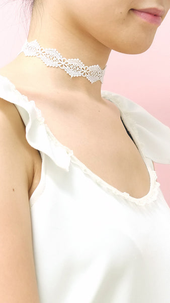 Diamond White Lace Choker