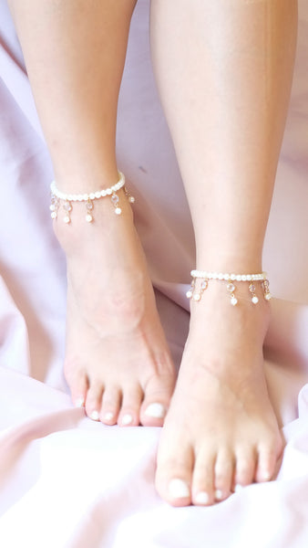 Pearl Charm Anklets - pasteldress