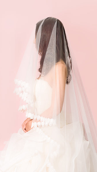 Cathedral Length Lace Veil - pasteldress