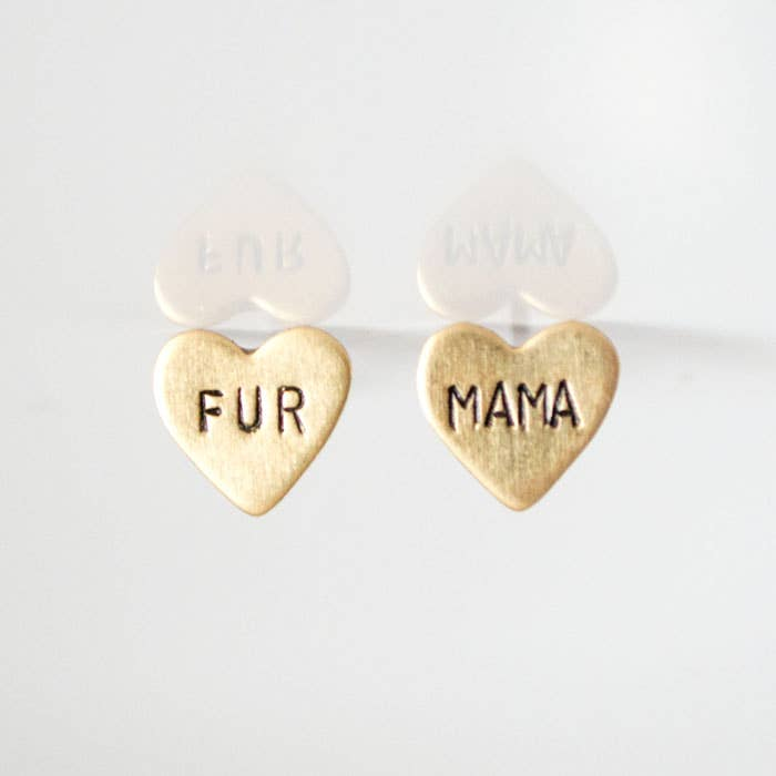 FUR MAMA heart earrings