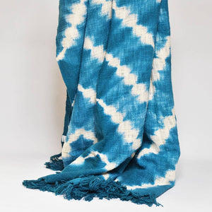 Zigzag Throw/Tablecloth - Turquoise & White