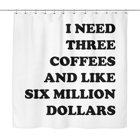 3 Coffees Shower Curtain | The Inked Elephant