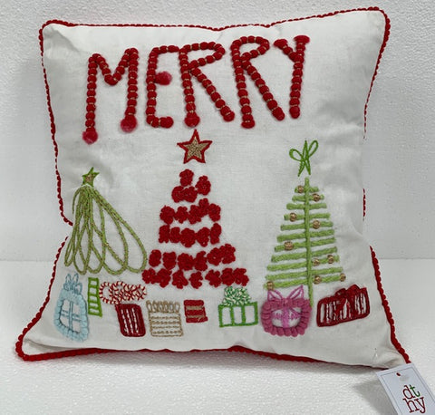 Merry w/Trees Embroidered Pillow