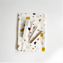 Load image into Gallery viewer, Tea Towel & Cocktail Straw Gift Set Combo Pack - Terrazzo