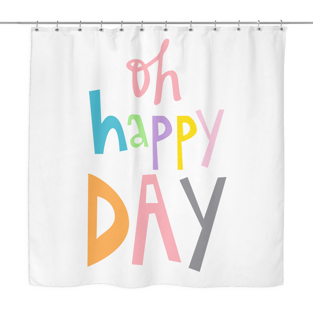 Oh Happy Day Shower Curtain | The Inked Elephant