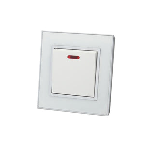 Luxury White Mirror Glass Single Switched 20A Switch