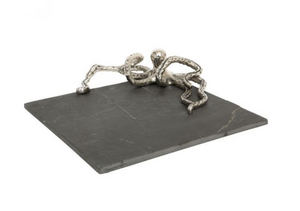 Slate Cheese Board with Silver Octopus