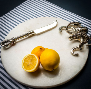 Octopus White Marble Cheeseboard with Knife