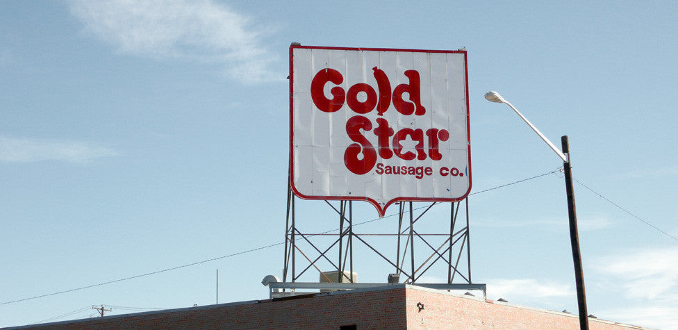 SIGNS THAT OUR NEIGHBORHOODS DON'T SUCK: THE GOLD STAR SAUSAGE COMPANY'S SAUSAGE FONT