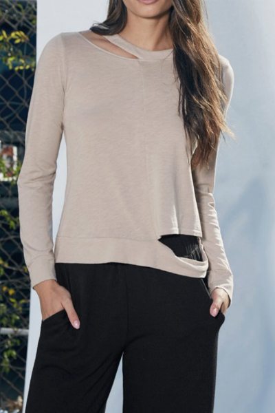 Slashed Sleeve Cropped Pullover