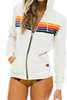 5 Stripe Unisex Zip Up Hoodie- White