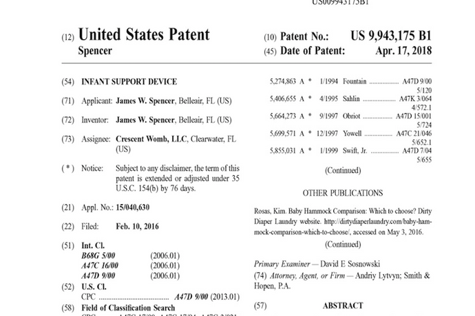Crescent Womb receives Patent 9,943,175