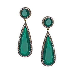 Sedoni Collection Green Onyx & Diamond Earrings