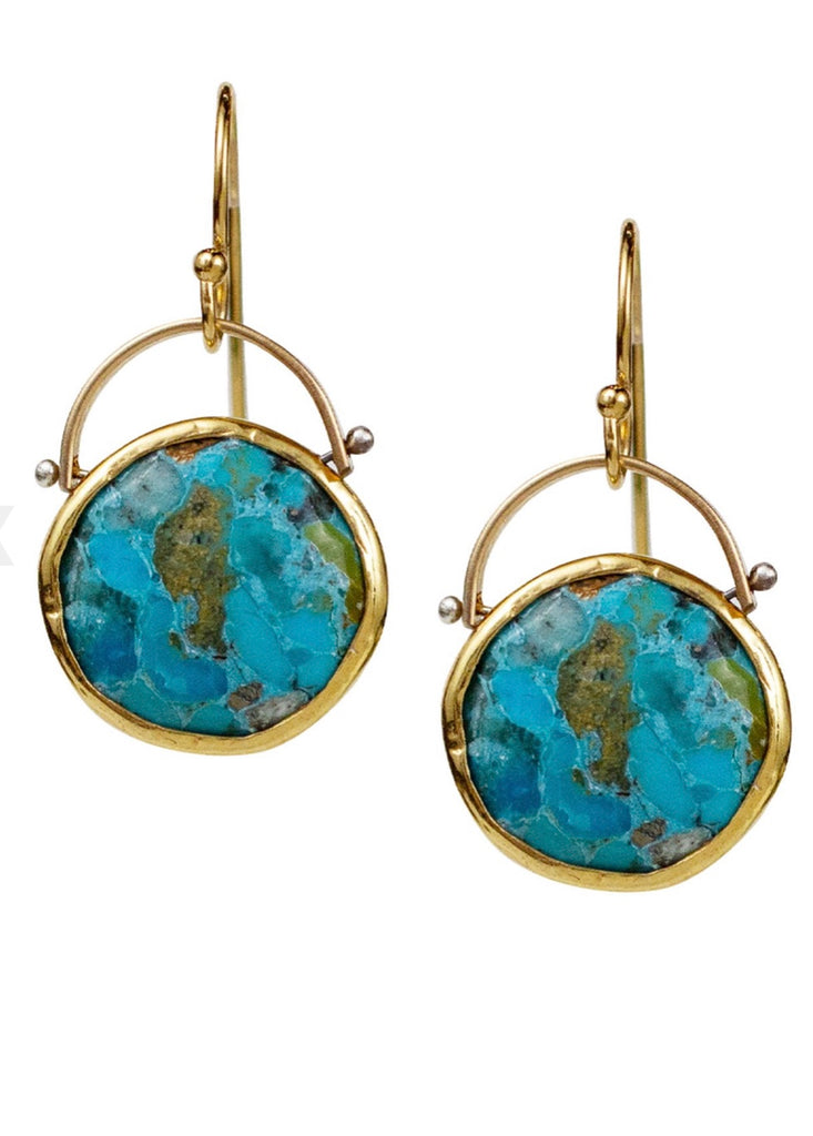 Coin Turquoise Earrings