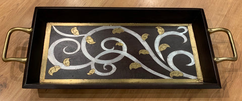 Wood with Metal Inlay Rectangular Tray