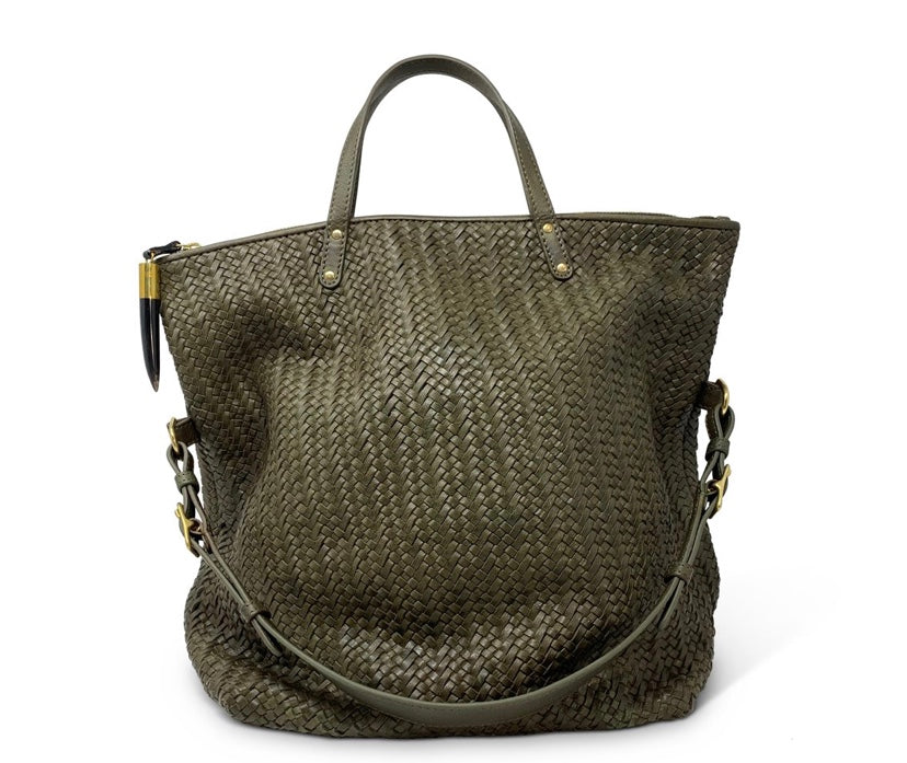 Woven Leather Foldover Tote