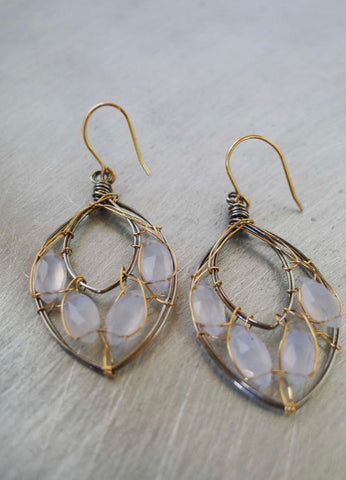 Leaves Aqua Chalcedony Earrings