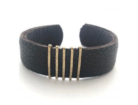 Bronze Bar Leather Cuff