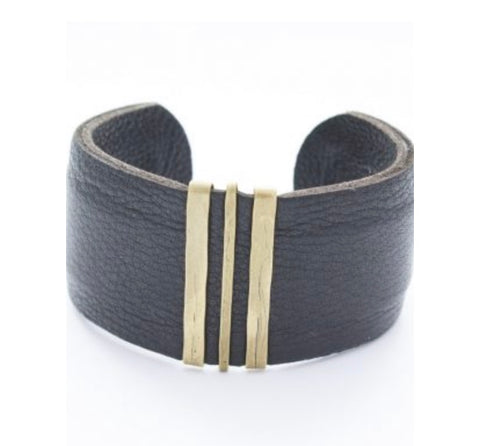 Triple Bronze Bar Leather Cuff