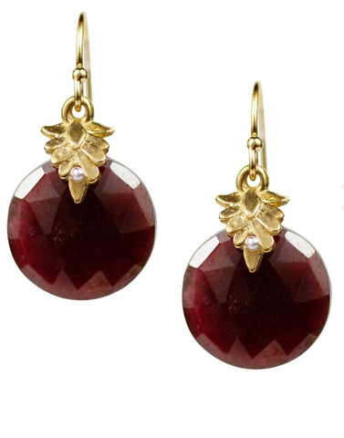 Leaf Bale Garnet Earrings