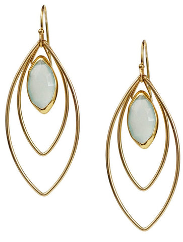 Aqua Chalcedony Marquis Earrings